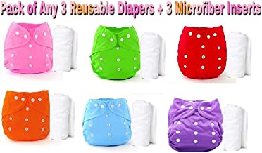 THE LITTLE LOOKERS® Premium Quality Adjustable & Reusable Baby Washable Cloth Diaper Nappies with Wet-Free Inserts for Babies/Infants/Toddlers  Age 0 to 2 Years Pack of 3 (Random Colors)