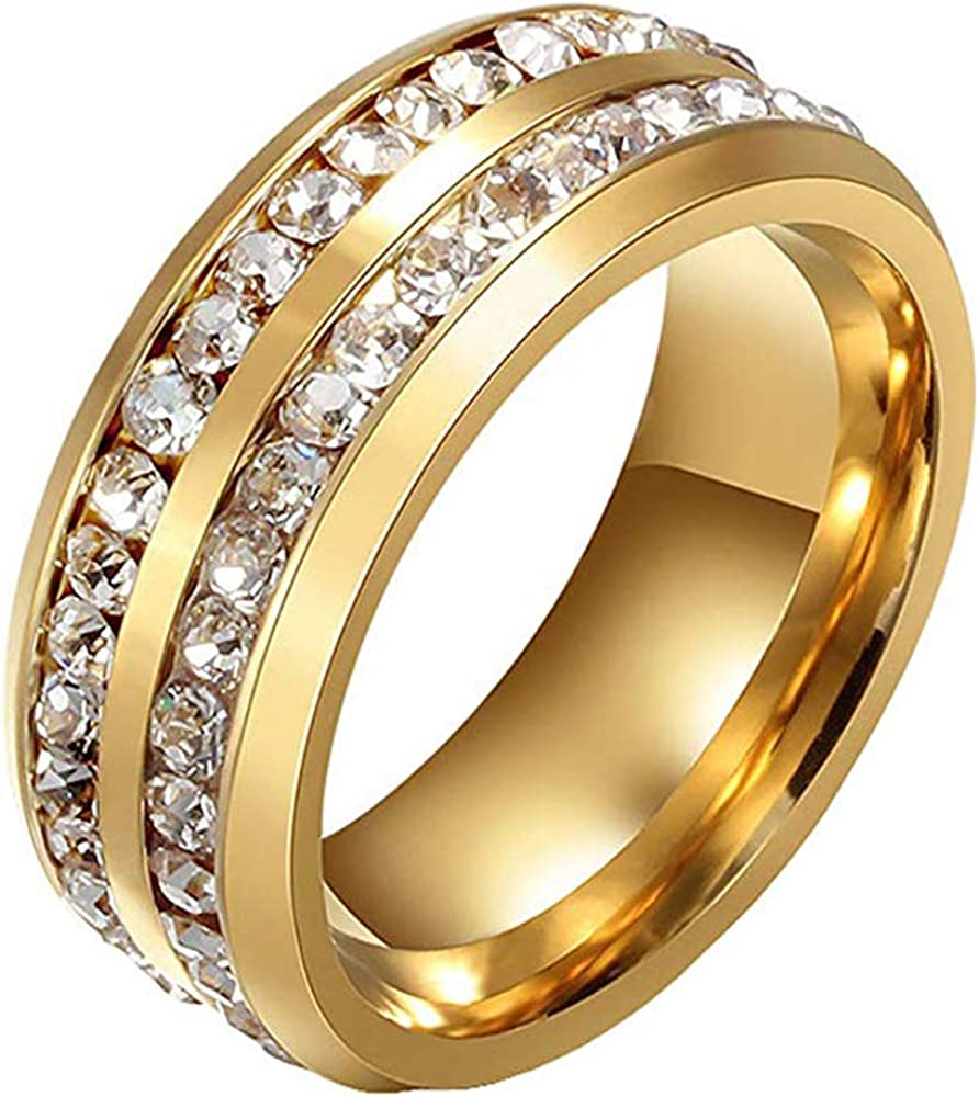 YZstyle Men's Women's 8MM Titanium Stainless Steel High Polished 18K Gold Plated Channel Cubic Zirconia CZ Promise Engagement Band Unisex Gold Wedding Ring Comfort Fit, Size 6-13