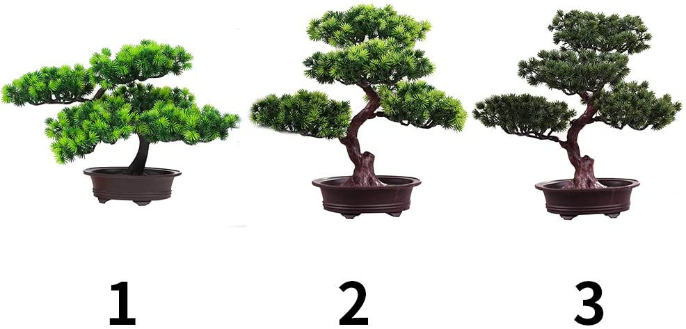 11Inch Faux Potted Plant Desk Display Fake Tree Pot Ornaments Japanese Cedar Bonsai Plant for Home KOET Artificial Bonsai Pine Tree 1 Office Decoration