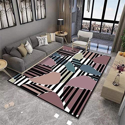 Alfombras Decoracion despacho Suave Alfombra de diseño geométrico Rosa Negro Lavable alfombras niños Antideslizante baño 120*170CM