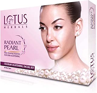 Lotus Radiant Pearl Facial Kit for Lightening & Brightening skin with Pearl dust & Green Tea, 4 easy steps, 37g(Single Use)