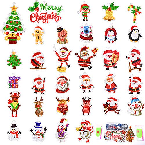 32 Pieces Christmas Diamond Painting Keychain Christmas Diamond Sticker 5D DIY Diamond Painting Keychain Kit Rhinestone Mosaic Making Full Drill Diamond Pendant for Christmas Arts Crafts