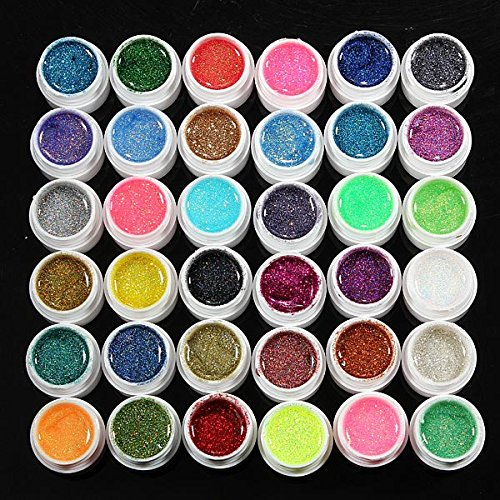 36 potten Glitter Poeder UV Builder Gel Nagel Art Decoratie Set