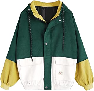 Hot Sale! Women Teen Girls Vintage Long Sleeve Color Block Corduroy Hooded Jacket Coat Windbreaker Oversized