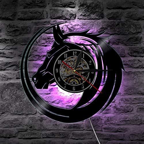 KFSG Reloj de Pared de Caballo Negro Hecho de Discos de Vinilo Diseño Moderno de Pared Decoración del hogar Ideas de Regalos Vintage para Animales Salvajes Amante de Caballos