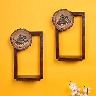 Aakriti Art Creations Wall Décor Brown Wooden Shelf, Set of 2