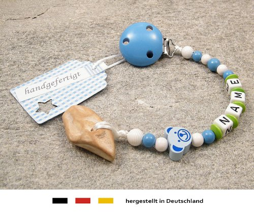 kleinerStorch Veilchenwurzel an Schnullerkette mit Namen - natürliche Zahnungshilfe Beißring für Babys - Schnullerhalter mit Wunschnamen - Jungen Motiv Bär in blau