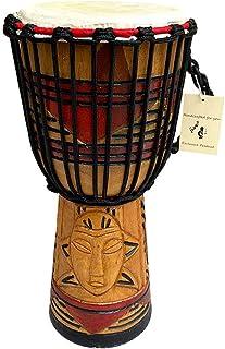 """مارک JIVE Djembe Drum Bongo Congo African Mahogany Wood طبل با پایه سنگین پوست بز بز طبل دستی حک شده با کیفیت حرفه ای - 16 """"بالا - در چین ساخته نشده است"""