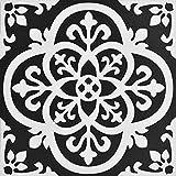 Decor Direct BRTFP2475 Floor Tiles, Black and White