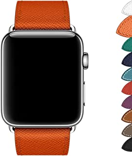 Genuine Leather Band Compatible for Apple Watch Series 3/2/1 38mm 42mm PTpower Replacement Straps Bracelet for iWatch Series 3/2/1 8 Fashionable Colors for Women/Men (Orange, 42mm)