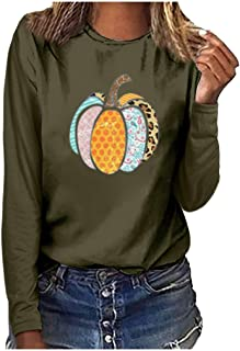 Women Fashion Halloween Plus Size Print Round Neck Long Sleeved T-Shirt Blouse Cute Colorful Pumpkin Printed Girls/Ladies T-Shirt (Army Green, XXX-Large)