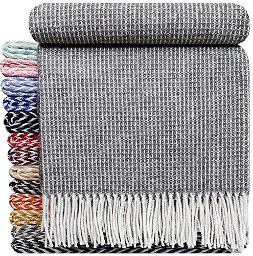 STTS International Baumwolldecke sehr weiches Plaid Wohndecke Kuscheldecke Baumwolle 140 x 200 cm Marbella Grau