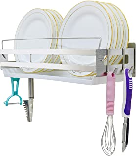 Hanging Dish Drying Rack Wall Mount Over the Sink with 4 Hooks,Junyuan Kitchen Dishes Plate shelf Organizers with Removable Drain Board,Durable-Stainless Rust Proof