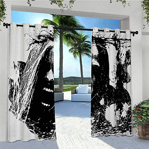 Indoor Outdoor Curtains Artistic Horror Sketch of a Crazy Man in Pain Screaming Portrait Evil Style Display Waterproof Patio Door Waterproof Windproof and Add Some Coolness as Well W96 x L84 Inch