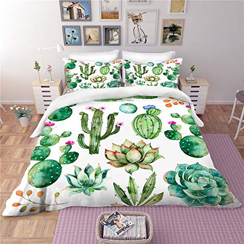 Smile Ensemble de Housse de Couette Rainforest 3 pièces, taie d'oreiller succulente personnalisée Haut de Gamme, Cactus ne Se décolore Pas, Confort, Microfibre Verte,01,Twin67.8×85.8in