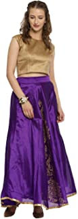 Ira Soleil Synthetic Full Skirt (S552R_Purple_Small)