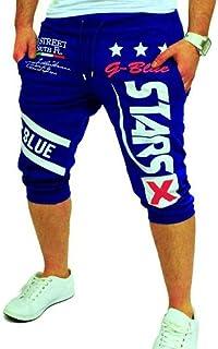 Men's Sport Pants, Fashion Printing Shorts Drawstring Elastic Waist Casual Loose Jogger Trouser
