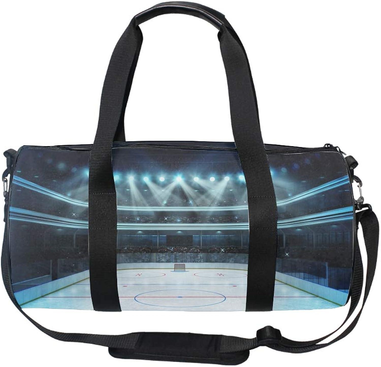 20 Inch Gym Bag with shoes Compartment Men Duffel Bag, Medium, Shining Hockey Stadium