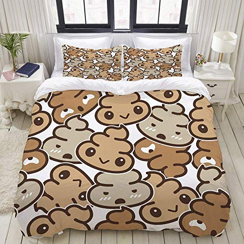 Nonun Duvet Cover,Poo Seamless Pattern Vector Cartoon Isolated Doodle,Bedding Set Ultra Comfy Lightweight Polyster Quilt Cover Sets