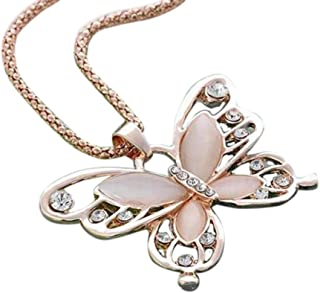 TOPUNDER Fashion Womens Lady Rose Gold Opal Butterfly Pendant Necklace Sweater Chain Hot by