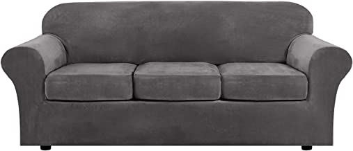 Modern Velvet Plush 4 Piece High Stretch Sofa Slipcover Strap Sofa Cover Furniture Protector Form Fit Luxury Thick Velvet Sofa Cover for 3 Cushion Couch, Machine Washable(Sofa,Gray)