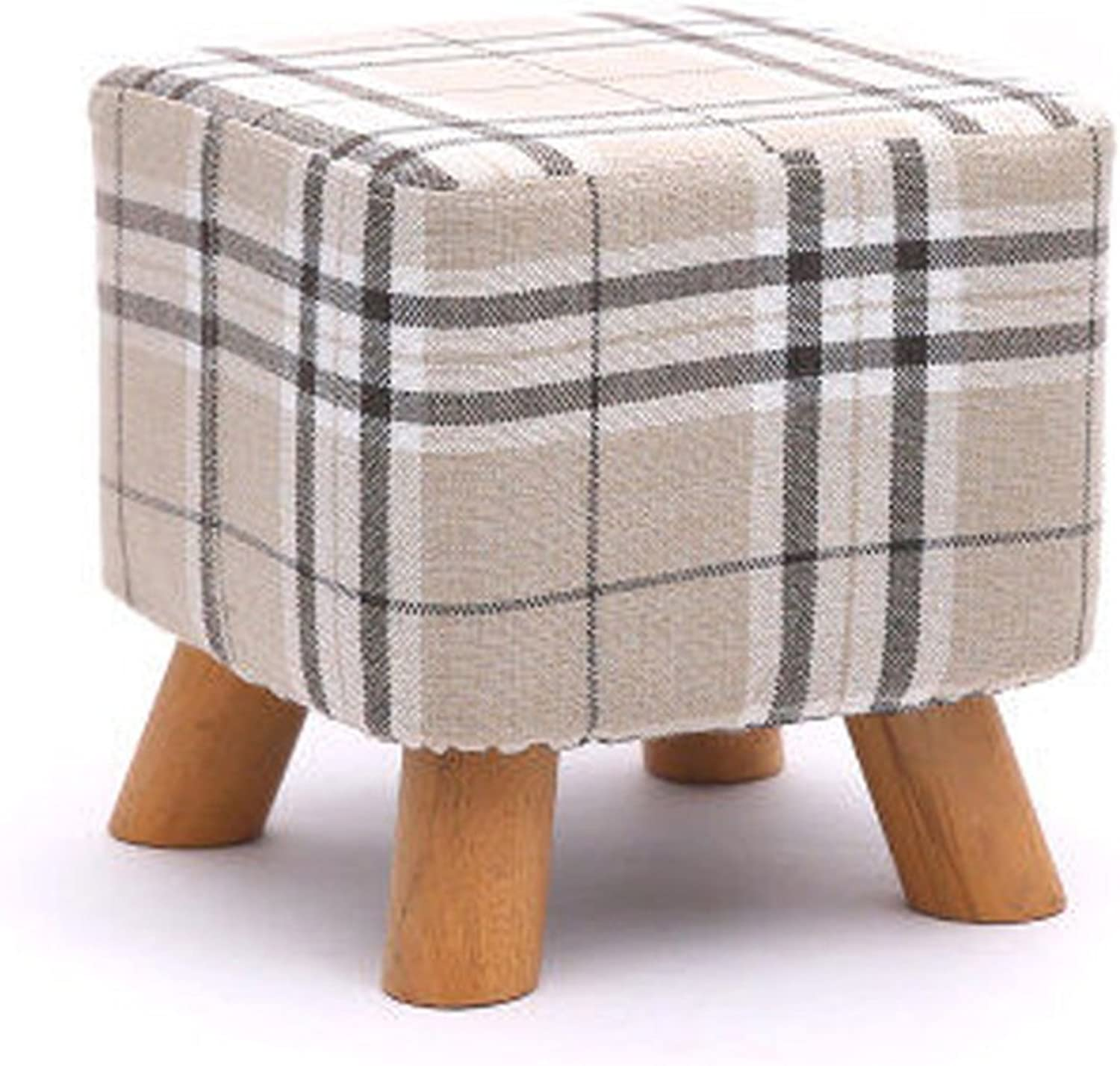 NYDZDM Solid Wood Change shoes Stool Footstool Round Upholstered 3 4 Wood Legs Pouffes Stool Fabric Cover Removable (color    12)