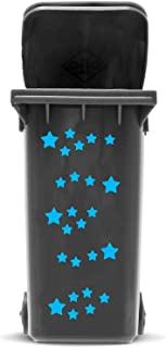STICKER SET: STARS - 25 star sticker in 2 sizes | Self adhesive Star Sticker Kit for Wheelie Bin and House Decoration | Vinyl Waste Container Decals | UV & Weatherproof, font colour:light blue