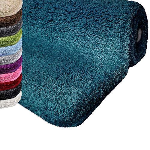 casa pura Tapis de Bain Grande Taille Qualité Premium Oeko Tex | Epais, Moelleux, Absorbant | Lavable en Machine | Plusieurs Tailles et Couleurs | Turquoise - 70x120cm