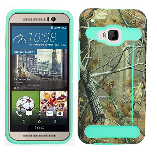 HTC One M9 (2015) Case, DURARMOR® HTC One M9 [Lifetime Warranty] Dual Layer Hybrid Card Stand ShockProof Armor Defender Protector Cover Real Tree/Turquoise
