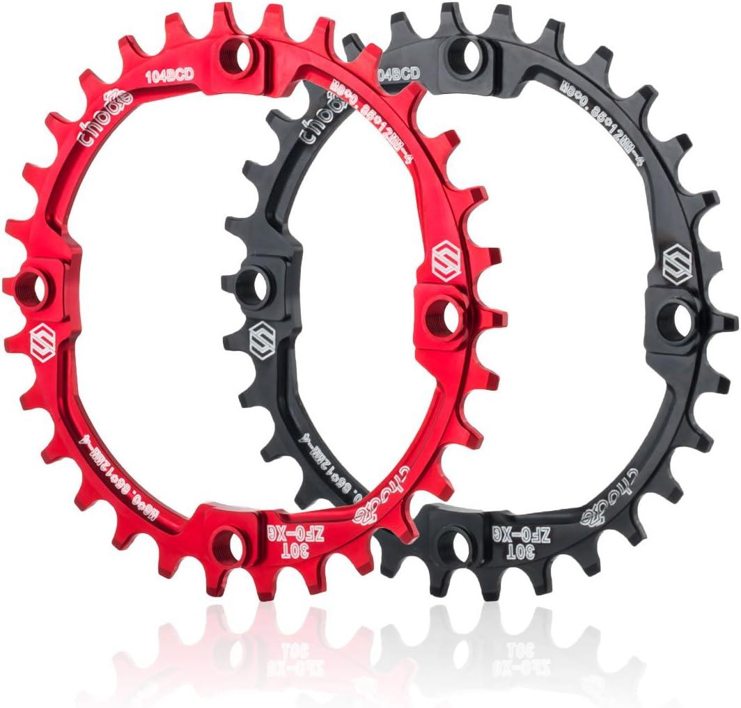 Corona dentata per bicicletta CNC 104 mm BCD in alluminio sottile e largo 30T//32T//34T//36T//38T