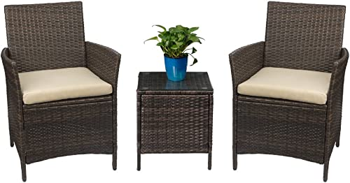Devoko Patio Porch Furniture Sets 3 Pieces PE Rattan Wicker Chairs with Table Outdoor Garden Furniture Sets (Brown/Be...