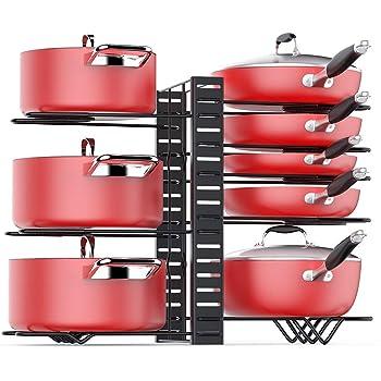 Pan Organizer Rack for Cabinet, Pot Rack with 3 DIY Methods, Adjustable Pot and Pan Organizer with 8 Tiers, Large & Small Pot Organizer Rack for Cabinet Kitchen [Upgrade Version]