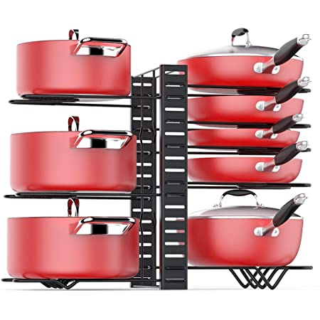 Houseware Kitchen Cabinet Pot Bakeware and More by Lavish Home Pan and Lid Organizer and Holder- Iron Storage Pantry Rack Shelf for Pots and Pans