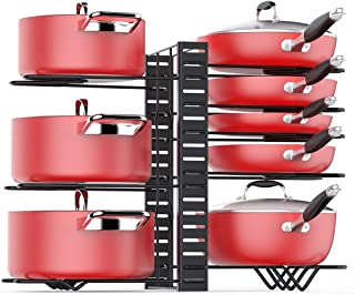 Pan Organizer Rack for Cabinet, Pots Pans Organizer Rack with 3 DIY Methods, Adjustable Kitchen Pan Pot Storage Organizer, 8 Metal Shelves with Anti-slip Layer