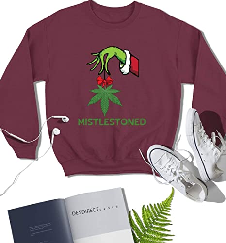 The Green Hand Holding Weed mistlestoned Drôle Noël Vacances tee-shirt Homme