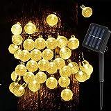 Solar Lichterkette Außen, Solar Garten Lichterkette Kristall, 8M 8 Modi IP65 Wasserdicht 40Led Lichterkette Außen Solar Warmweiß für Garten, Bäume, Terrasse, Hochzeiten, Partys, Innen und Außen