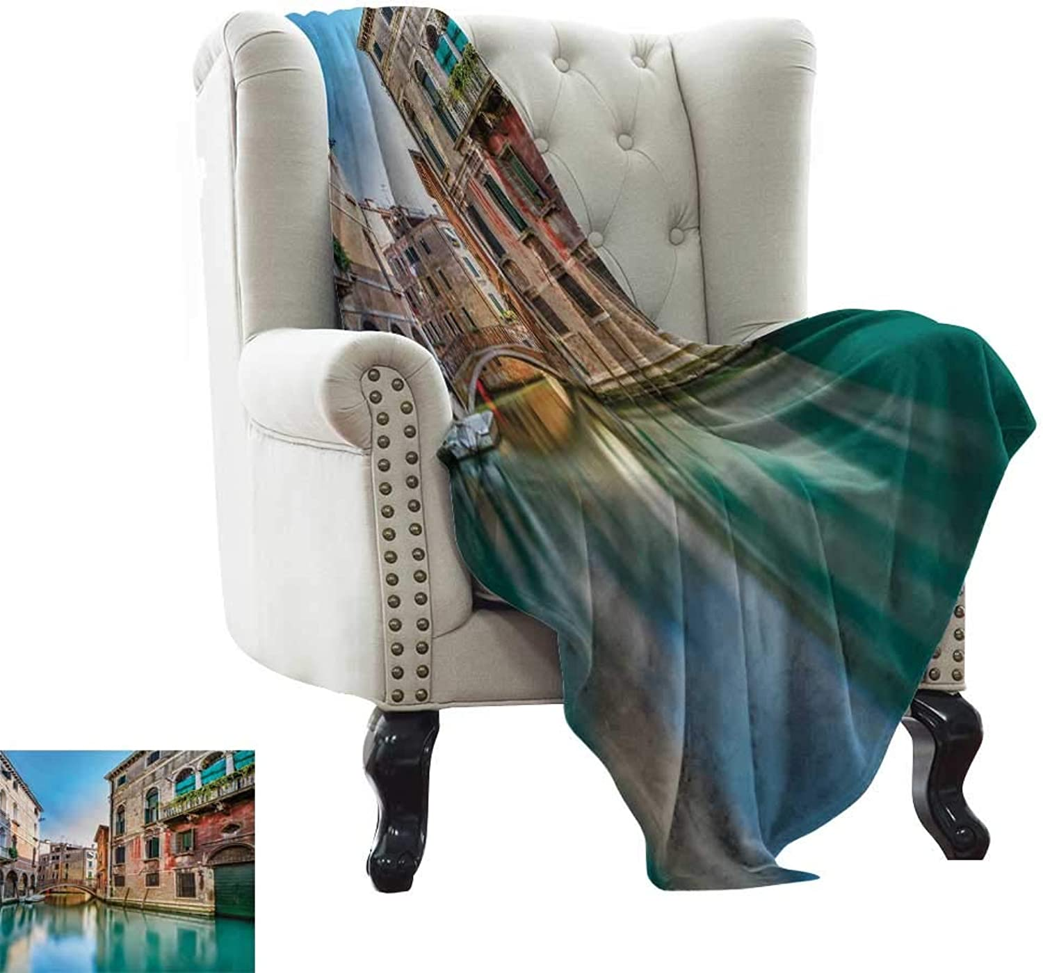 Venice,Bed Sheet Traditional Italian Water Canal Romantic Cityscape Famous Travel Destination 70 x50  Super Soft Boys Warm Blanket Teal Red Grey