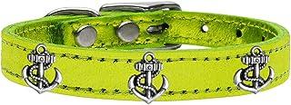 طوق من الجلد الطبيعي ذو لمعة معدنية للكلاب من ميراج بت برودكتس 83-106 LgM10، مقاس 25.4 سم، أخضر ليموني