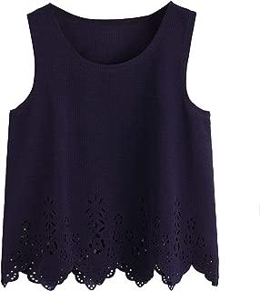 SheIn Women's Summer Scallop Cutout Hem Sleeveless Basic Vest Crop Tank Top