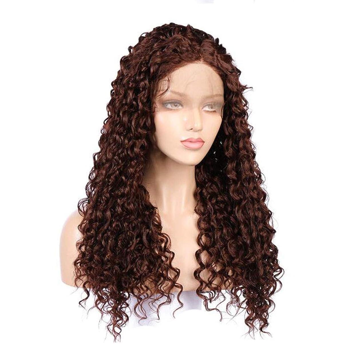 下る変色する怠惰女性のための耐熱高密度と茶色のかつら長い波状のレースフロント合成繊維コスプレかつら王女自然な髪型