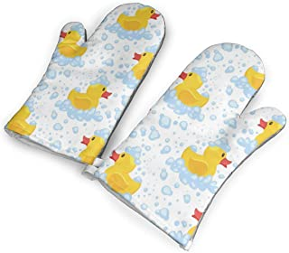 not Yellow Rubber Duck Oven Mitts with Polyester Fabric Printed Pattern,1 Pair of Heat Resistant Oven Gloves for Cooking,Baking,Grilling,Barbecue Potholders