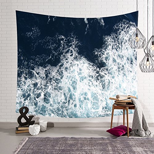 Hysenm Blue Ocean Waves Tapestry Sea Sunset Wall Hanging Art Décor for Bathroom Children's Room, Wave3 80x59 Inches