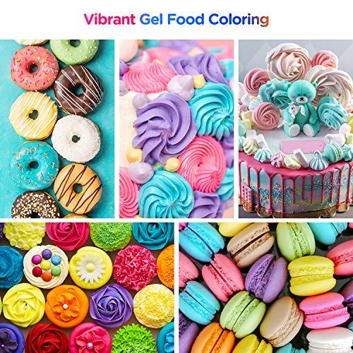Nomeca 12 Colors Gel Food Coloring .70 Fl Oz Bottles Vibrant Icing Gel...
