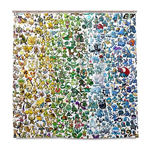 XXzhang Pokemon Duschvorhang mit Haken – 60 x 72 Zoll wasserdichter Standard Duschvorhang für Badezimmer, Dusche, Badewannenvorhang-Sets mit 12 Haken