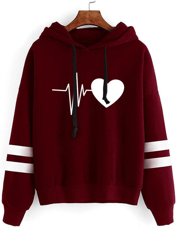 Toeava Hoodies for Women, Women's Fashion Heart Printed Stripe Hooded Tops Long Sleeve Loose Fit Sweatshirt Pullovers
