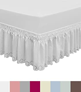 QSY Home Wrap Around Elastic Eyelet Bed Skirts Dust Ruffle Three Fabric Sides Easy On/Easy Off Adjustable Polyester Cotton 14 1/2 Inches Drop(White Twin/Full)