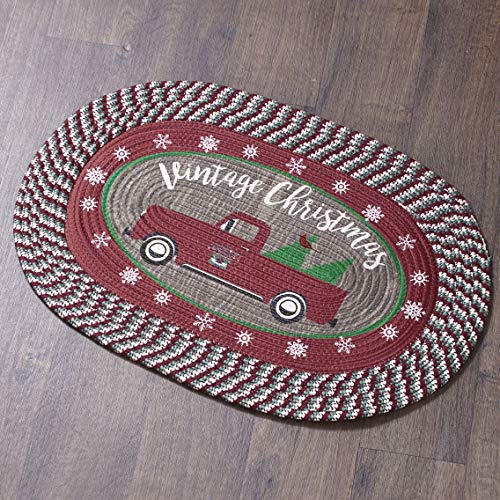 The Lakeside Collection Braided Accent Rug – Vintage Christmas Truck Pattern