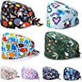 8 Pieces Working Caps with Button Tie Back Hats with Sweatband for Women Men (Elegant Style)