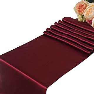 Burgundy Satin Table Runners Wedding Party - 10 pcs Banquet Event Decoration 12