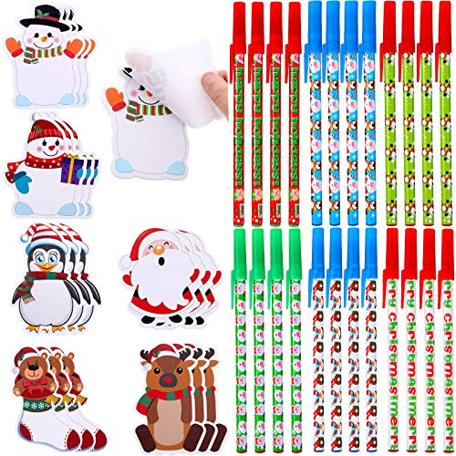 18 Pieces Christmas Notepad Set Snowman Notepads Christmas Post Notes with 24 Pieces Ballpoint Pens Christmas Characters Self-Stick Notes Sticky Memo Pads for Work Study